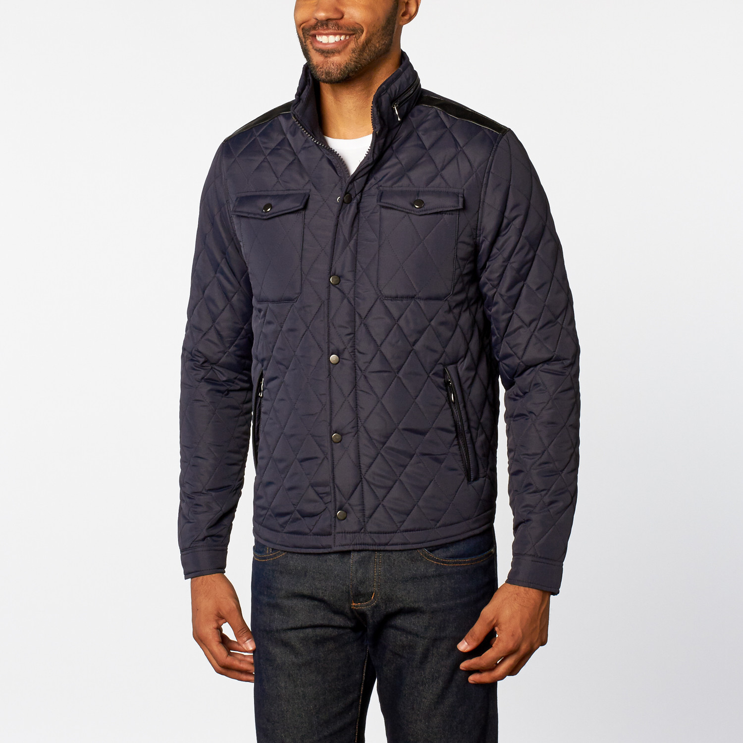 Diamond Quilted Jacket // Navy (S) - ZINOVIZO - Touch of Modern : quilted jacket navy - Adamdwight.com