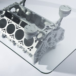 Blockhead designs engine block coffee table metallic for Small block coffee table