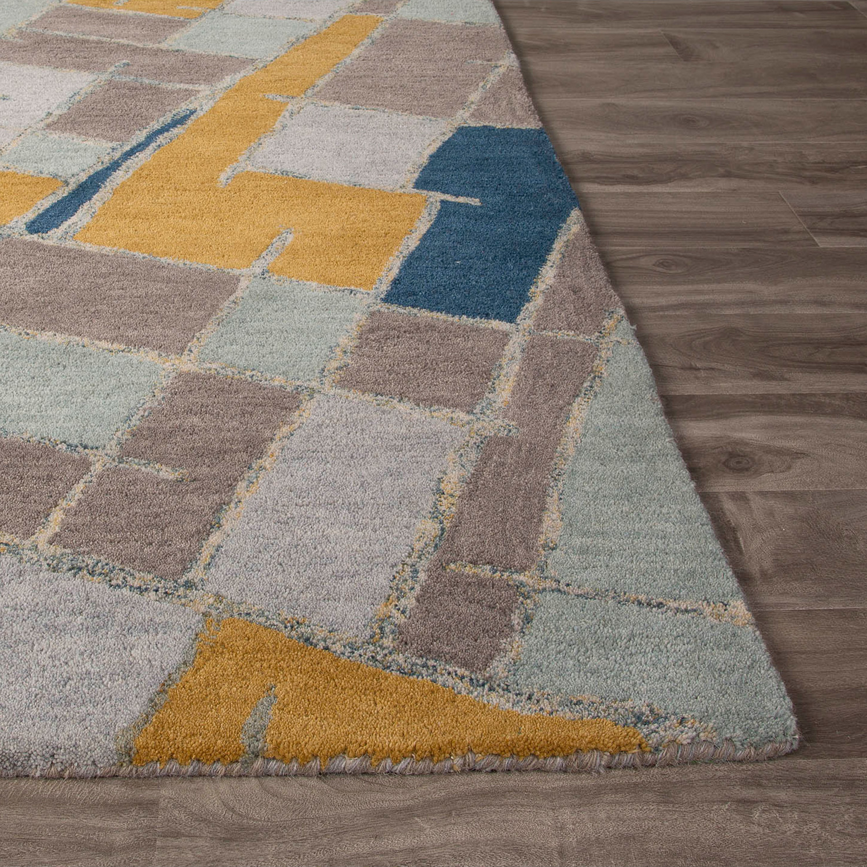 Modern Geometric Cats Wool Area Rug Blue Multi 2 L