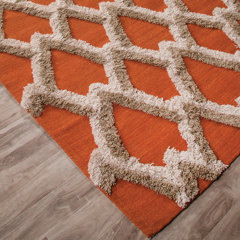 Modern Geometric Feathers Pattern Wool Area Rug Orange