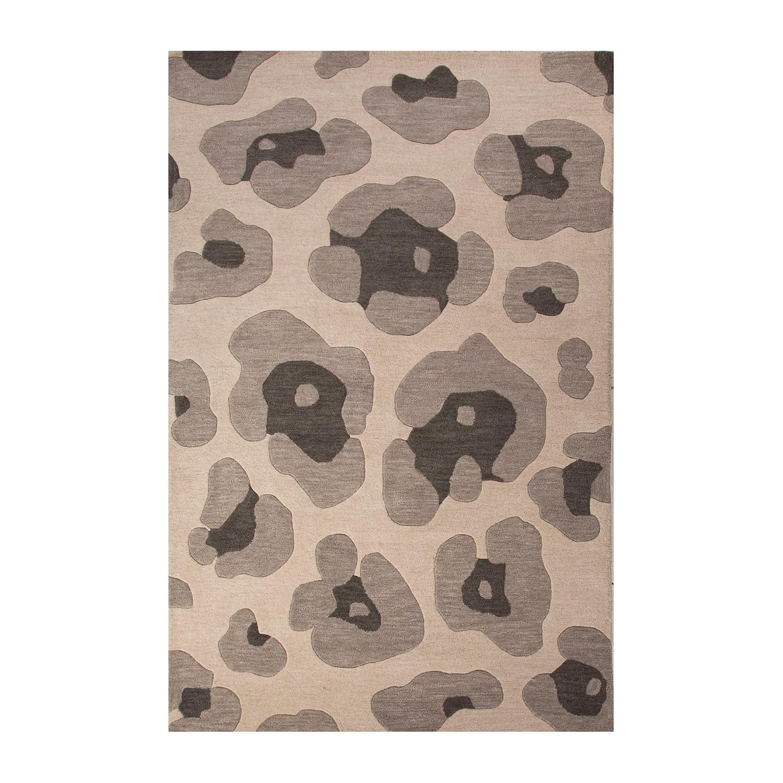 Animal Print Rug Grey: Modern Animal Print Pattern Wool Area Rug // Gray (2'L X 3