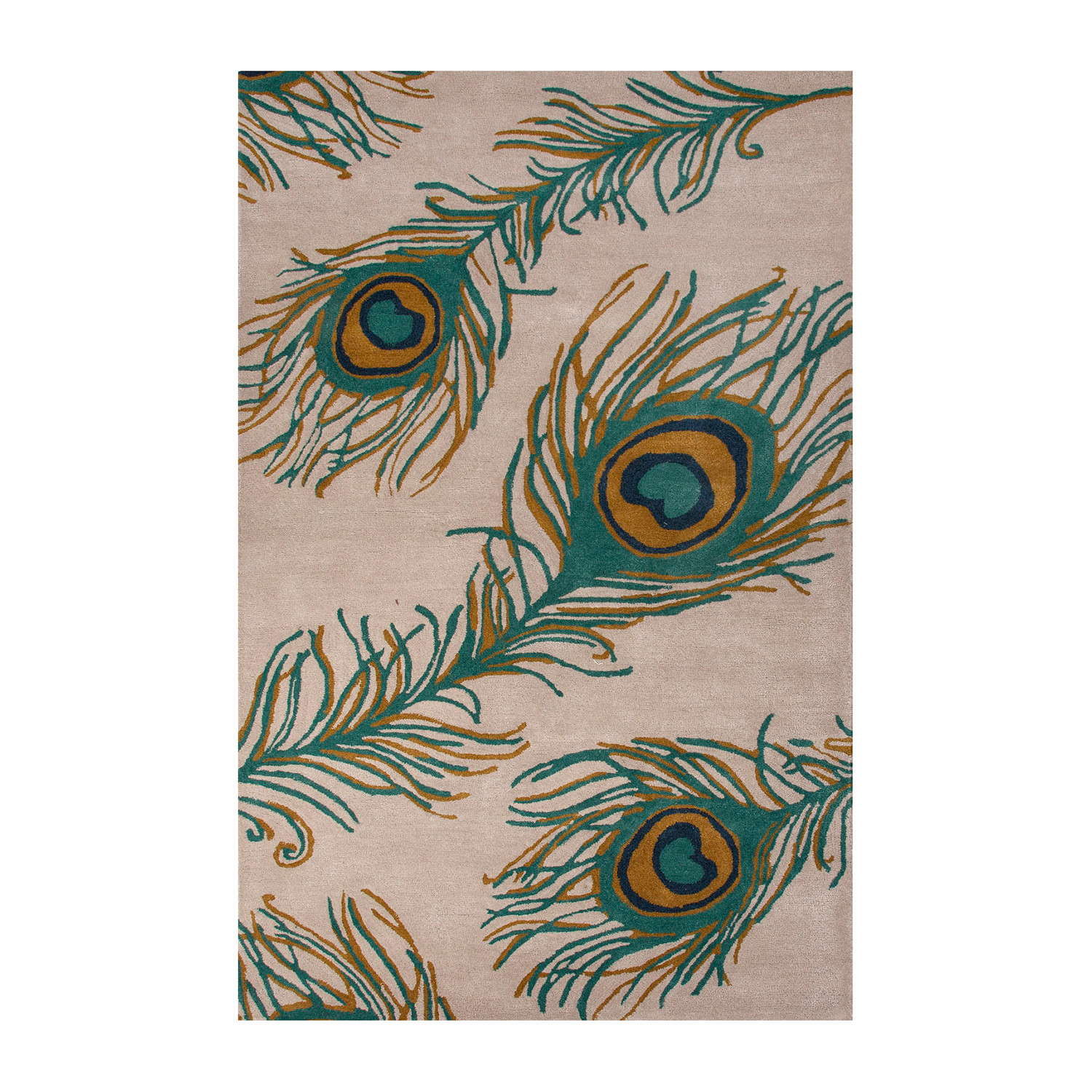 Modern Animal Print Feathers Wool + Viscose Area Rug // Green (2'L X 3'W)