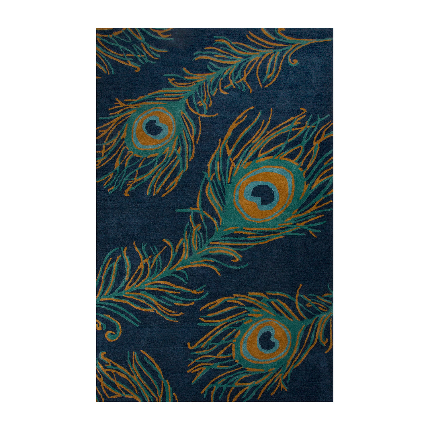 Modern Animal Print Feathers Wool Viscose Area Rug // Blue (2'L X 3'W)
