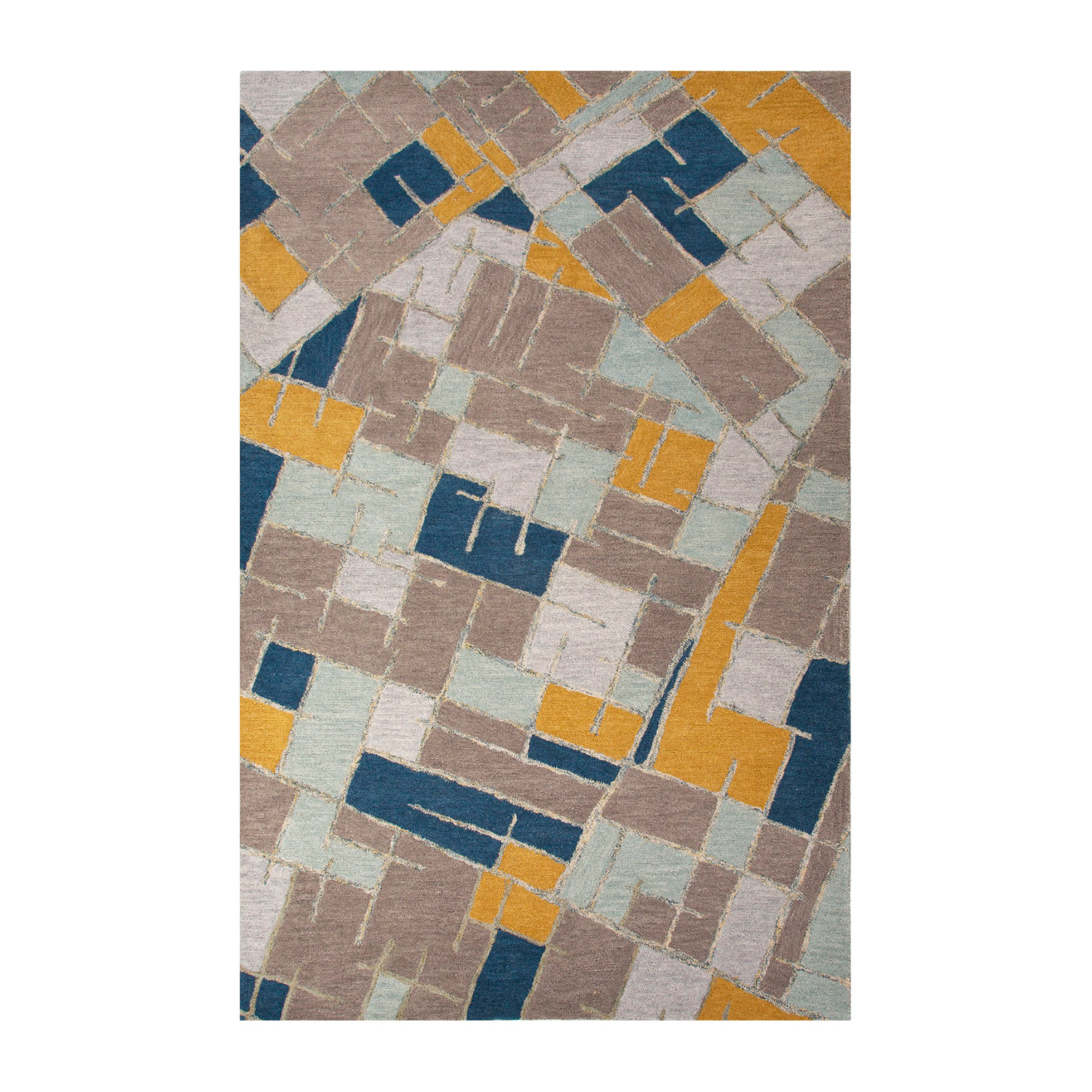 Modern Geometric Big Cats Wool Area Rug Blue Multi 2