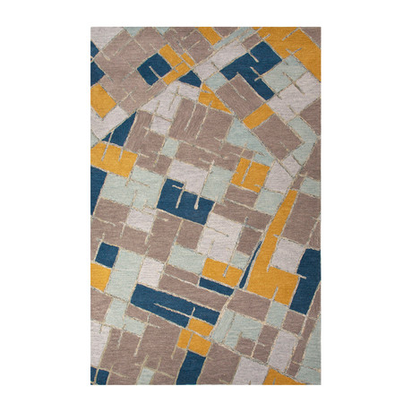 Modern geometric big cats wool area rug blue multi 2 for Geometric print area rugs
