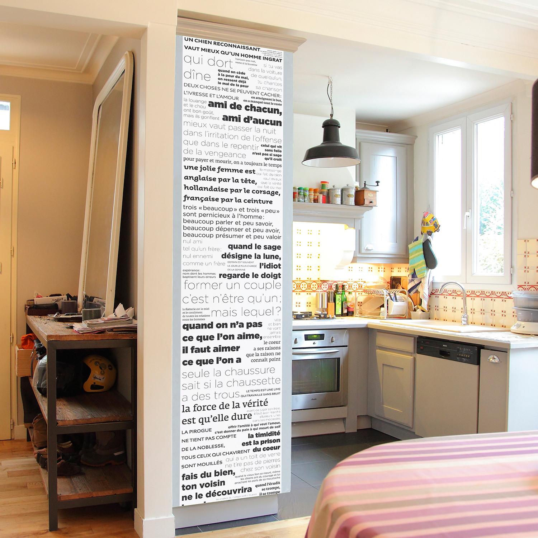 """Deco Noir Et Blanc proverbes noir et blanc (deco // 18.31""""w x 102.36""""h"""