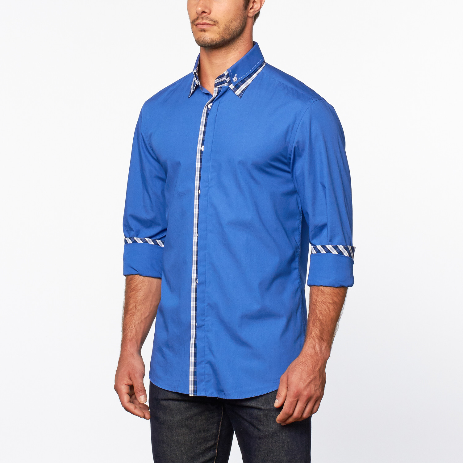 Button up shirt plaid detail royal blue s dolce for Royals button up shirt