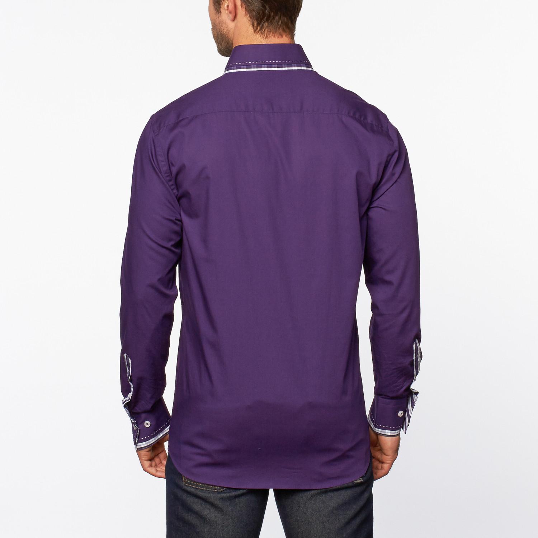 Button up shirt plaid trim purple s dolce guava for Purple plaid button up shirt