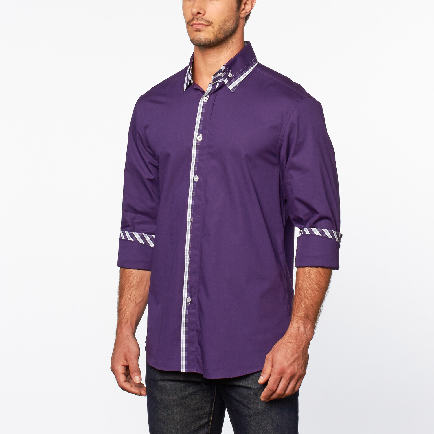 Button Up Shirt Plaid Trim Purple S Dolce Guava