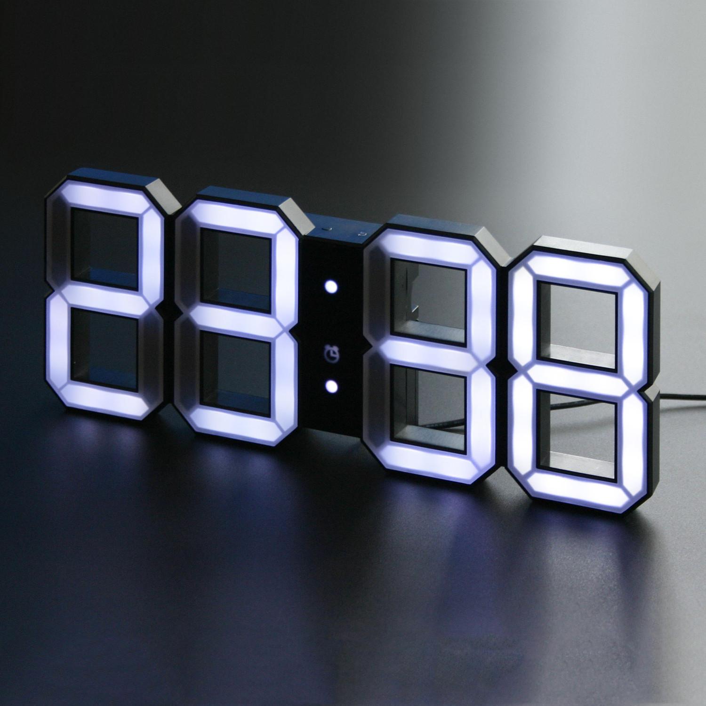kibardindesign  white  white digital led clock  black edition  - kibardindesign  white  white digital led clock  black edition (m cord