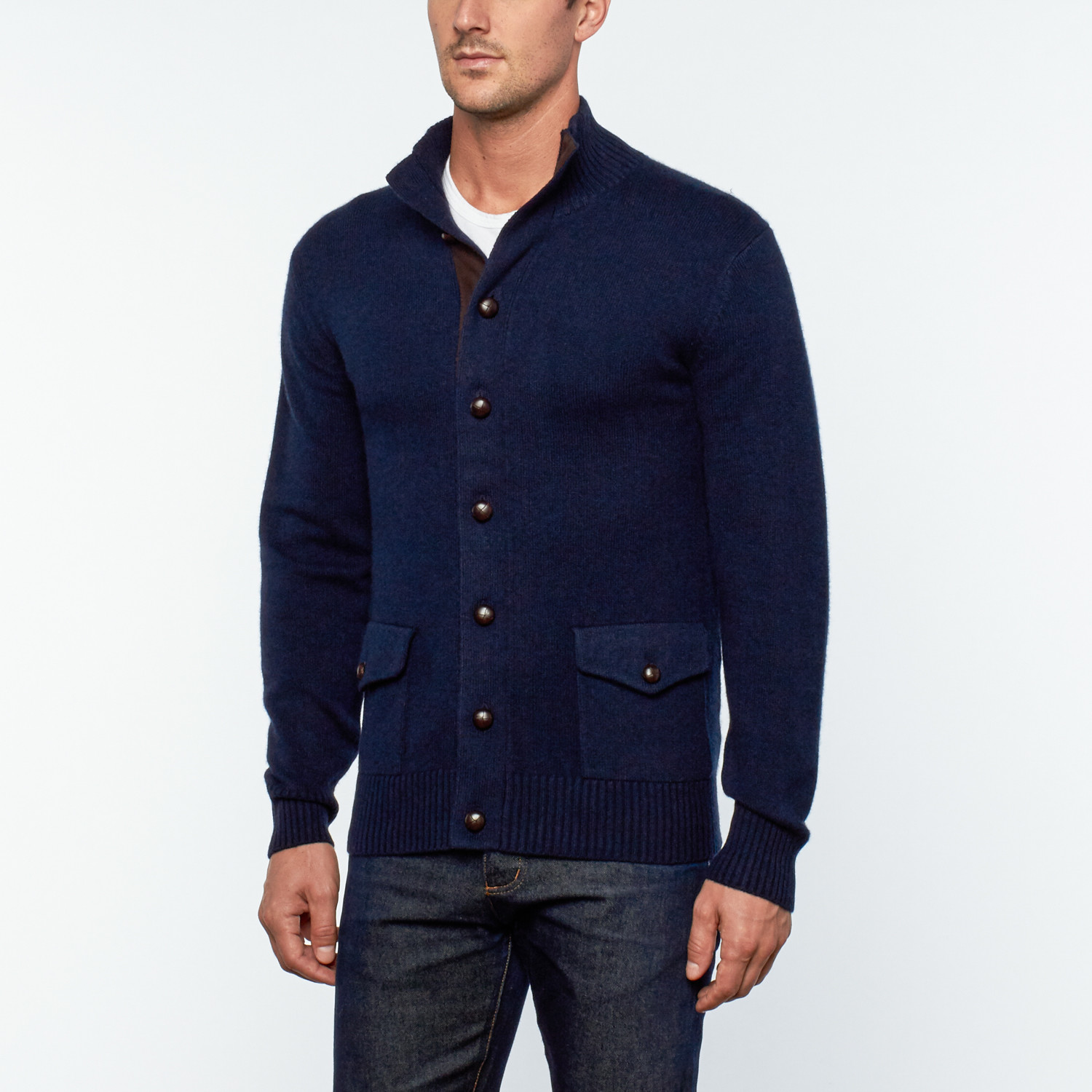 Messi Cashmere   Leather Button-Up Cardigan // Navy Blue (S ...