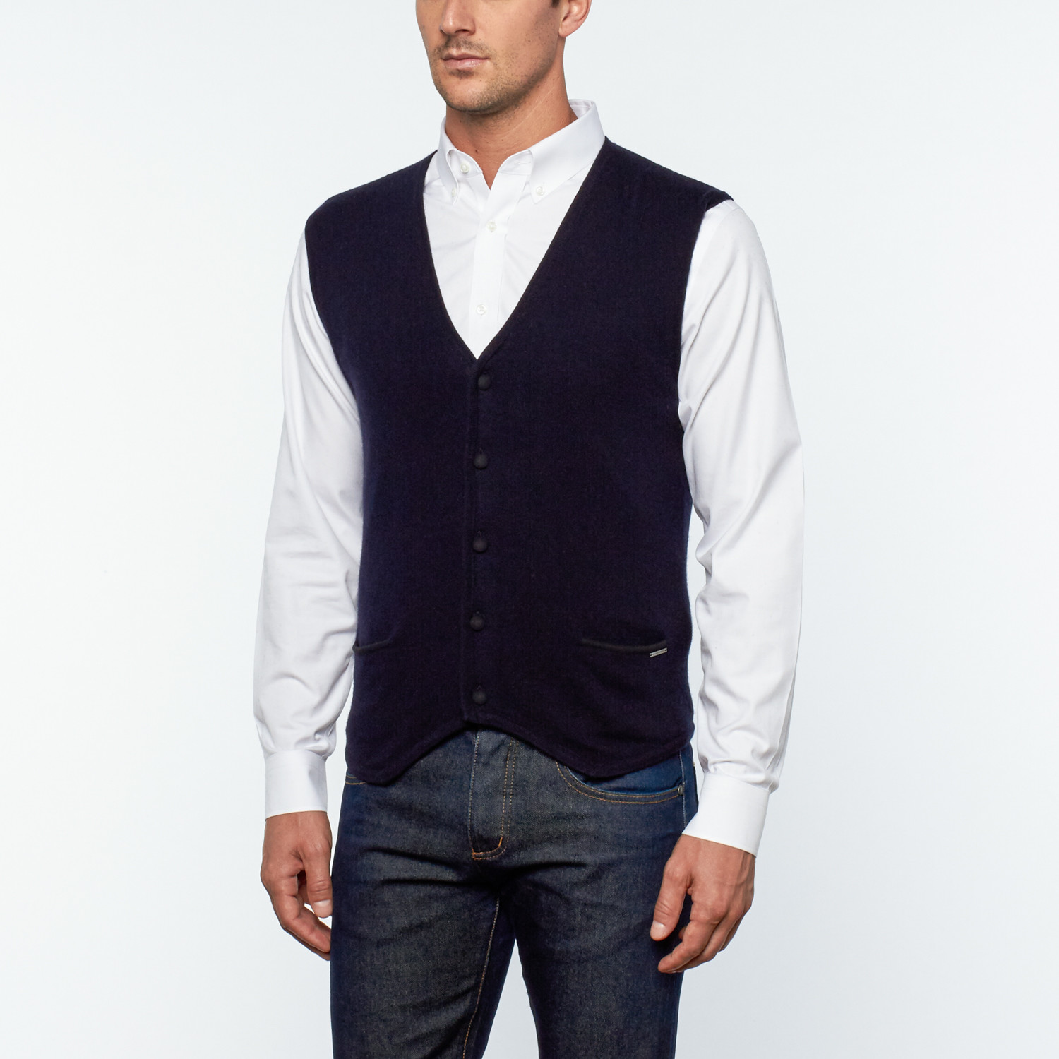 Valdes Cashmere Button-Up Sweater Vest // Navy Blue (L) - Silk and ...