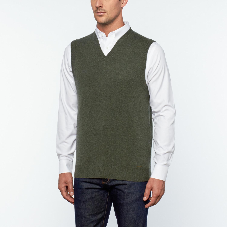 Gio Cashmere Sweater Vest // Khaki (S) - Silk and Cashmere ...