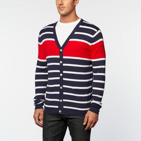 Loft 604 // Pure Cotton Lightweight Stripes Cardigan // Navy