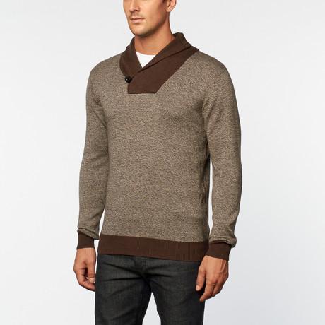 Cashmere Cotton Shawl Collar Pullover // Brown Melange (S)
