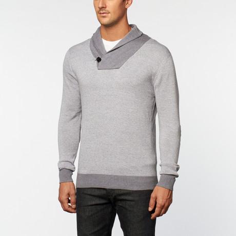 Cashmere Cotton Shawl Collar Pullover // Grey Melange (S)