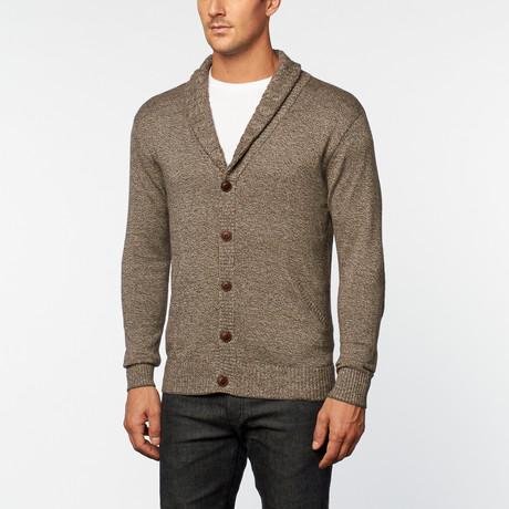 Loft 604 // Cashmere Cotton Shawl Collar Cardigan // Brown Melange