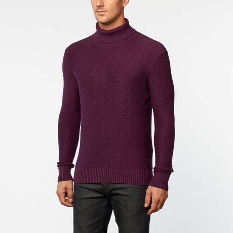 Loft 604 // Cashmere Cotton Turtle Neck Sweater // Wine