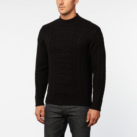 Loft 604 // Australian Merino Wool Cowl Neck Pullover // Black (S)