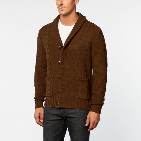 Loft 604 // Australian Merino Wool Cable Cardigan // Brown (S)