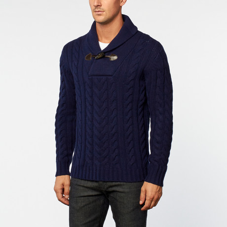 Merino Wool Shawl Collar Pullover // Navy