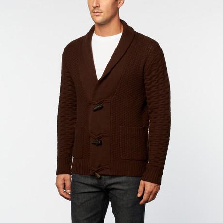 Italian Cashmere Honeycomb Cardigan // Brown (S)