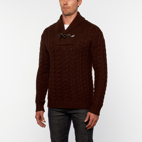 Loft 604 // Italian Cashmere Shawl Collar Pullover // Brown