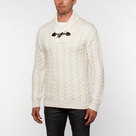 Italian Cashmere Shawl Collar Pullover // Ivory (S)