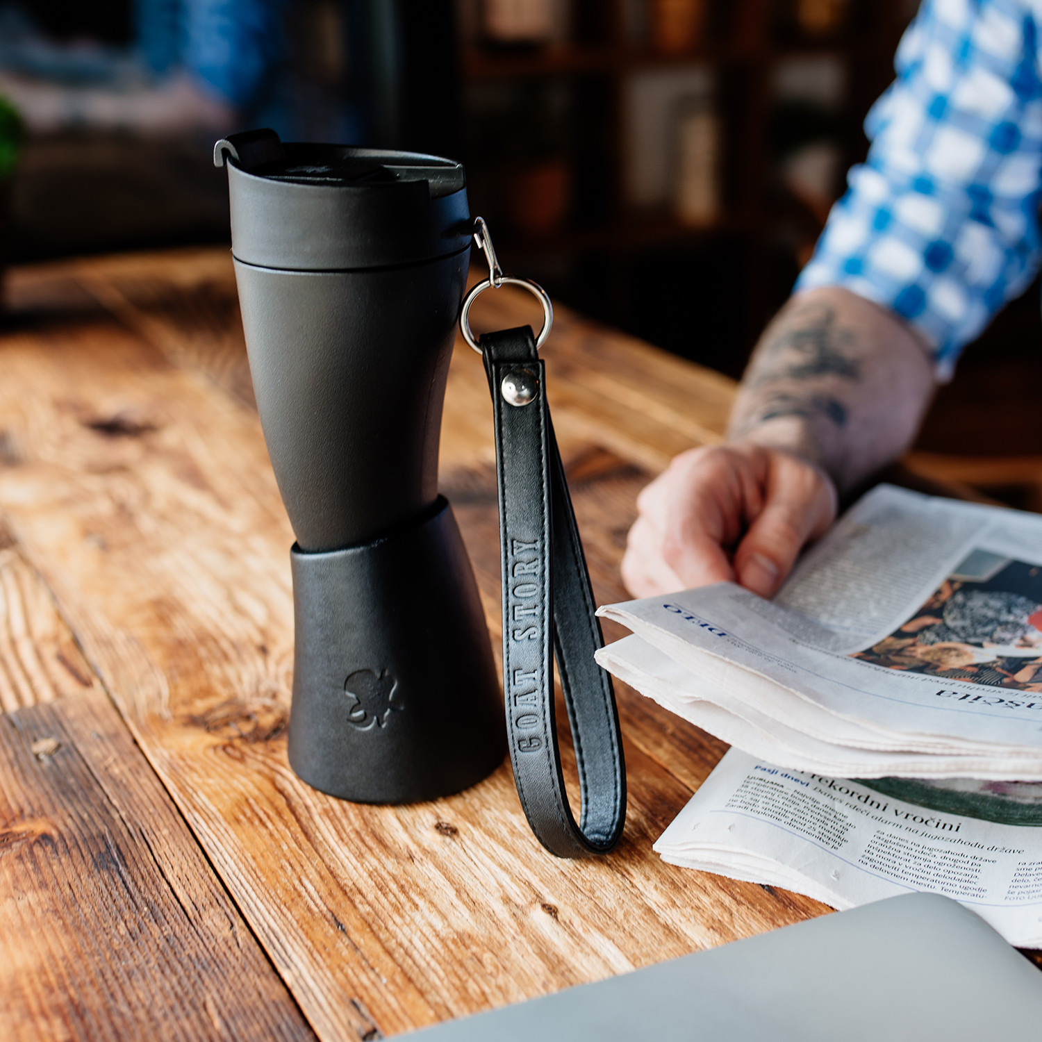 goat story coffee mugs  engineered for your commute  touch of modern - oz goat mug  black (classic)