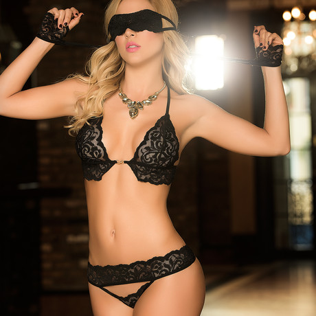 Lace Bra + Thong + Cuffs + Eye Mask // Black (S/M)