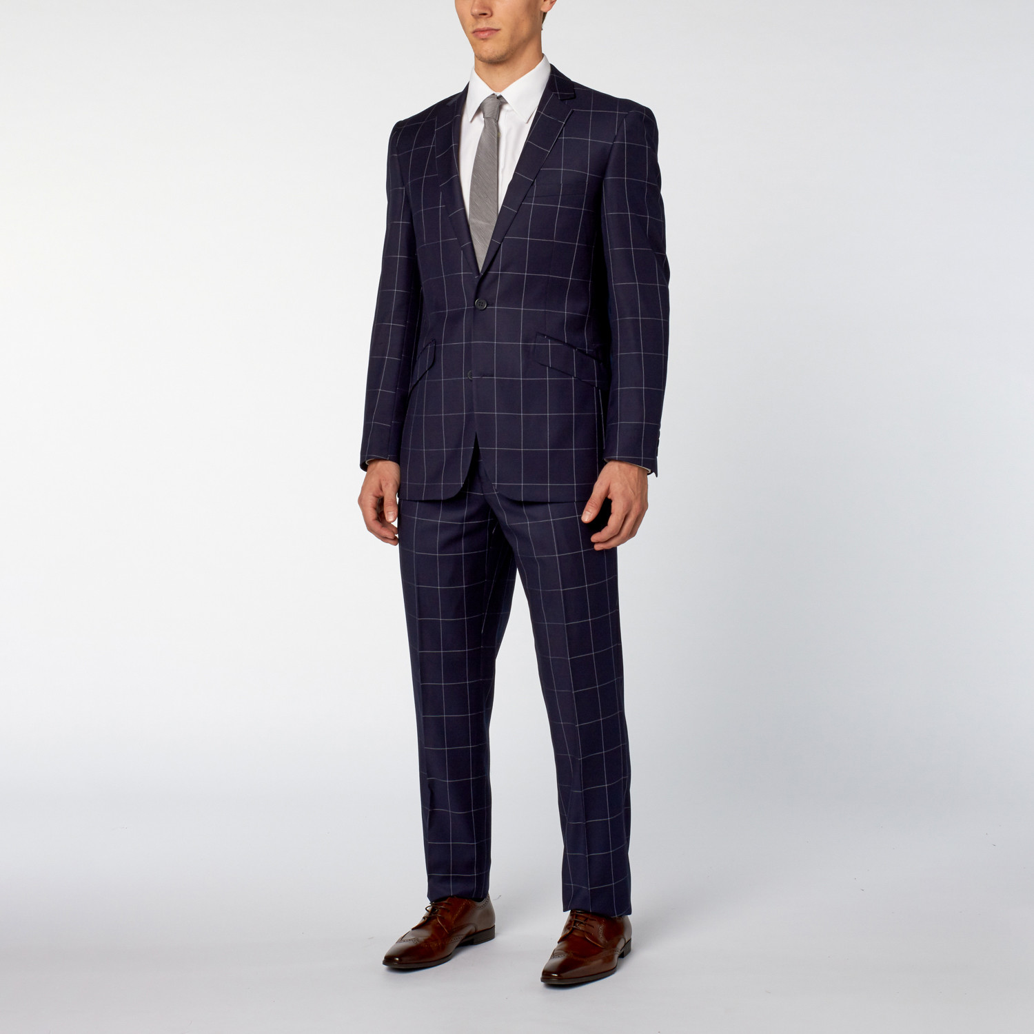 Renoir 2 piece window pane slim fit suit navy us for 2 pane window