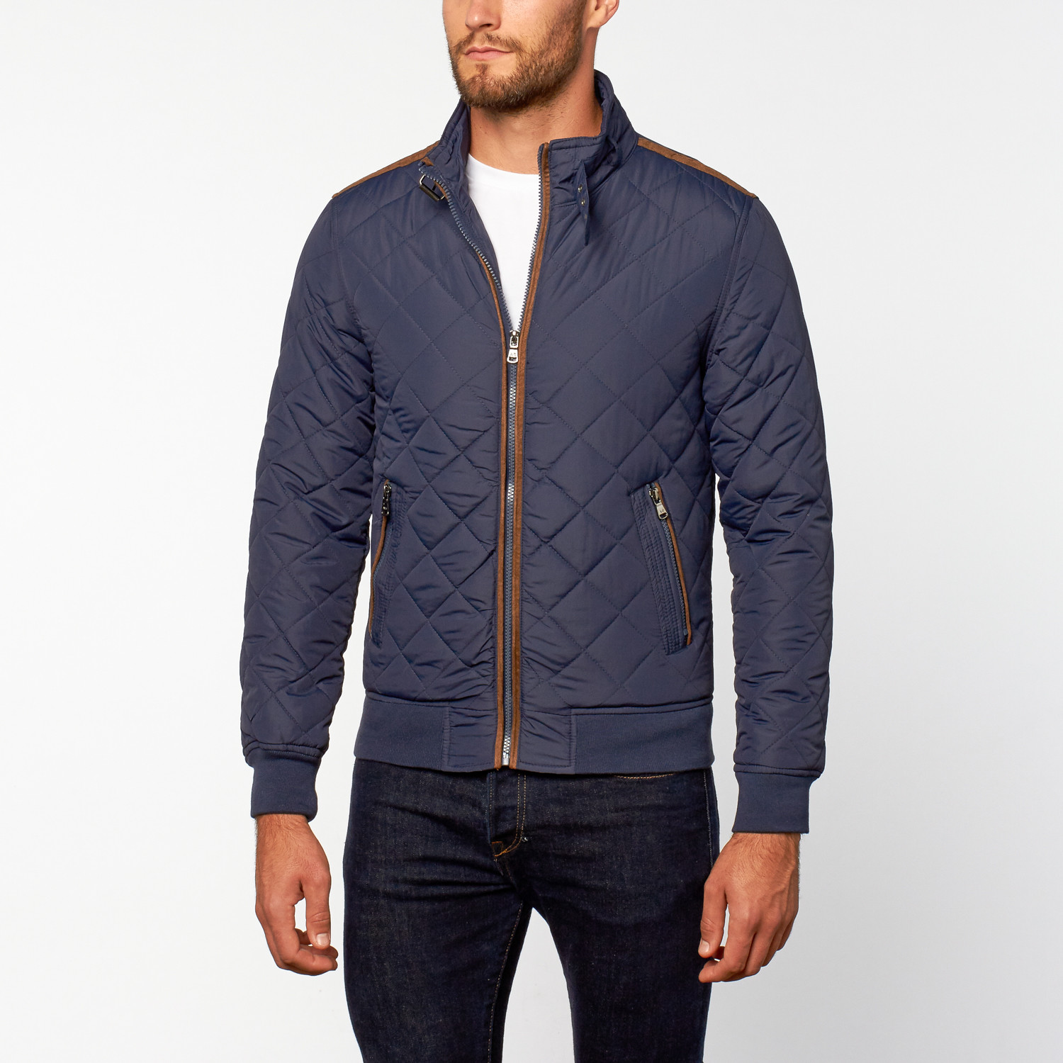 Diamond Quilted Varsity Jacket Navy M American Stitch Touch