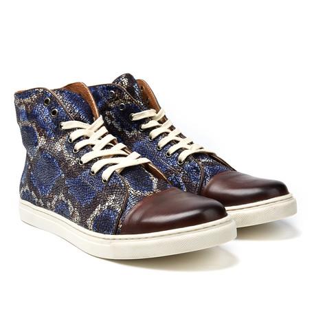 Peter Hi-Top Sneaker // Brown Python
