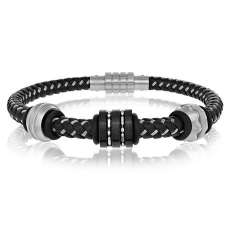 Black Leather Bracelet + Steel Wires