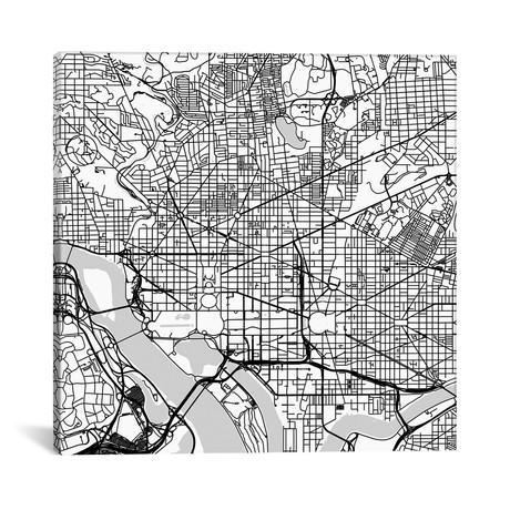 """Washington D.C. Urban Roadway Map // White (18""""L x 18''W)"""