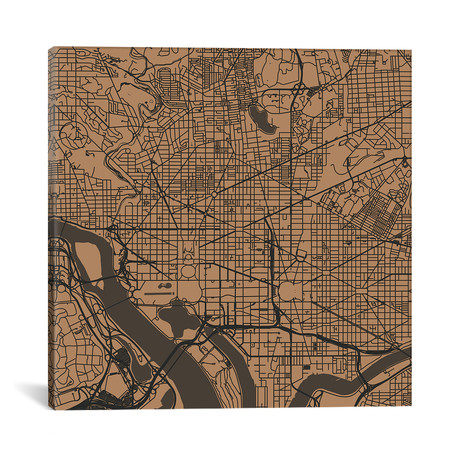 "Washington D.C. Urban Roadway Map // Gold (18""L x 18''W)"