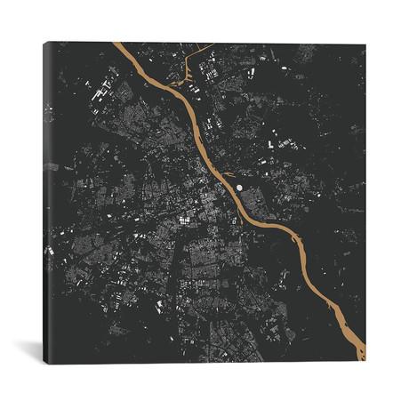 """Warsaw Urban Map // Gold (18""""L x 18''W)"""