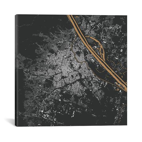 """Vienna Urban Map // Gold (18""""L x 18''W)"""