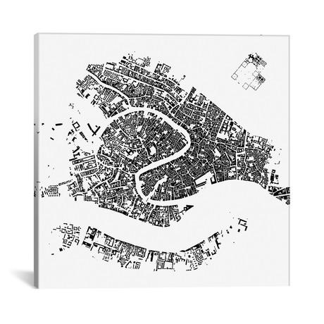 "Venice Urban Map // White (18""L x 18''W)"