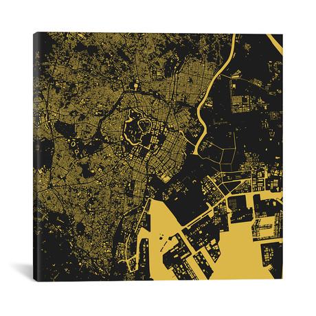 "Tokyo Urban Map // Yellow (18""L x 18''W)"