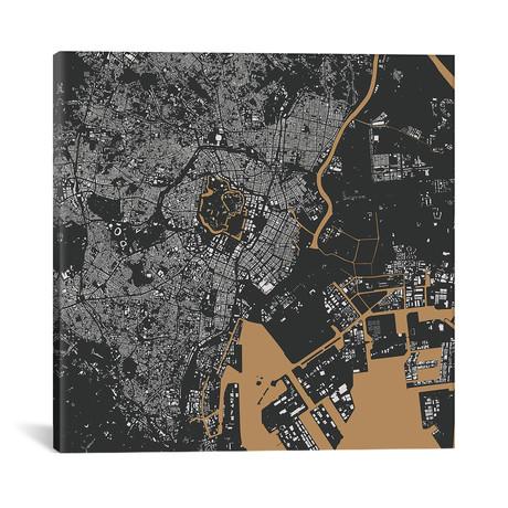 """Tokyo Urban Map // Gold (18""""L x 18''W)"""