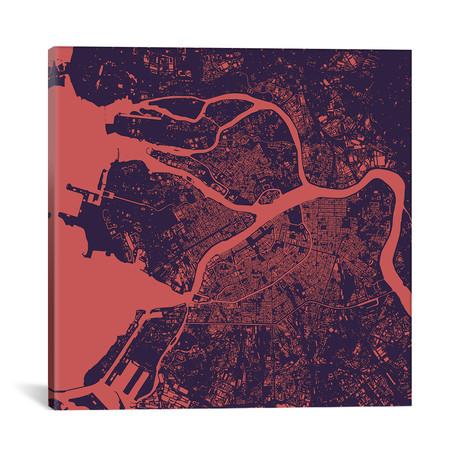 """St. Petersburg Urban Map // Purple Night (18""""L x 18''W)"""