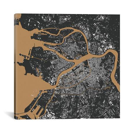 """St. Petersburg Urban Map // Black + Gold (18""""L x 18''W)"""