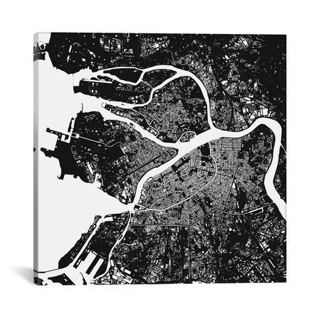 """St. Petersburg Urban Map // Black (18""""L x 18''W)"""