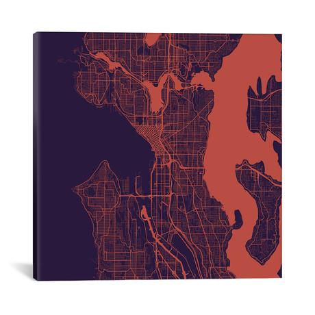 "Seattle Urban Roadway Map // Purple Night (18""L x 18''W)"