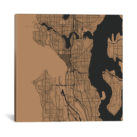 """Seattle Urban Roadway Map // Gold (18""""L x 18''W)"""