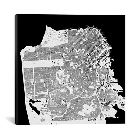"""San Francisco Urban Map // White (18""""L x 18''W)"""