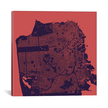"""San Francisco Urban Map // Purple Night (18""""L x 18''W)"""
