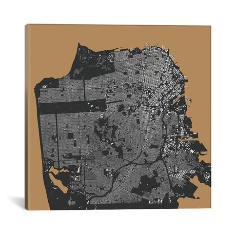 "San Francisco Urban Map // Gold (18""L x 18''W)"