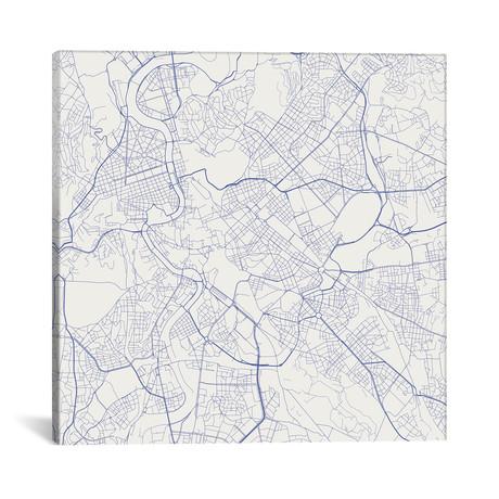 """Rome Urban Roadway Map // Blue (18""""L x 18''W)"""
